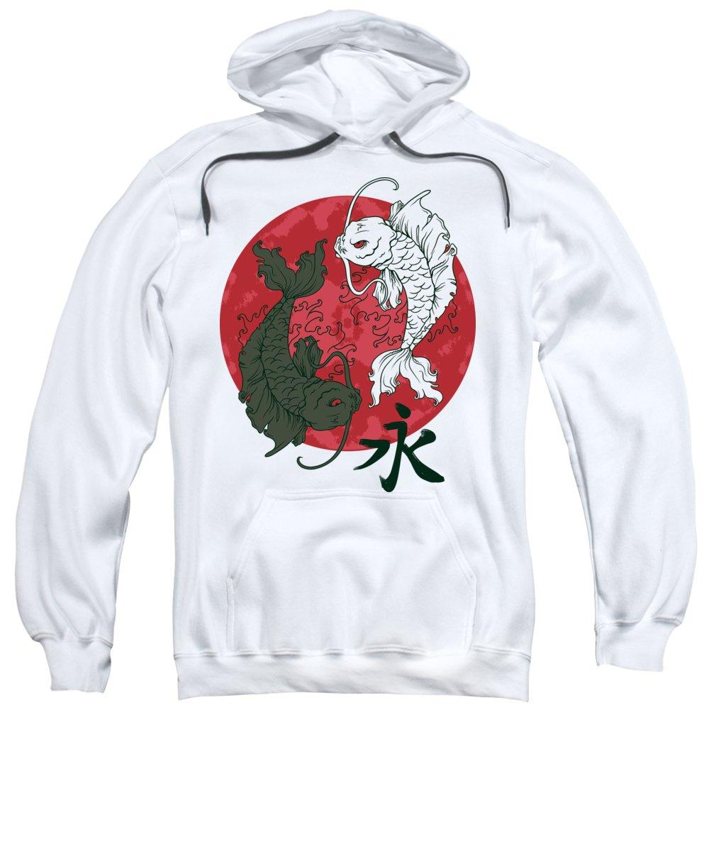 Koi Fish Sweatshirt featuring the digital art Yin Yang Koi Fish by Passion Loft