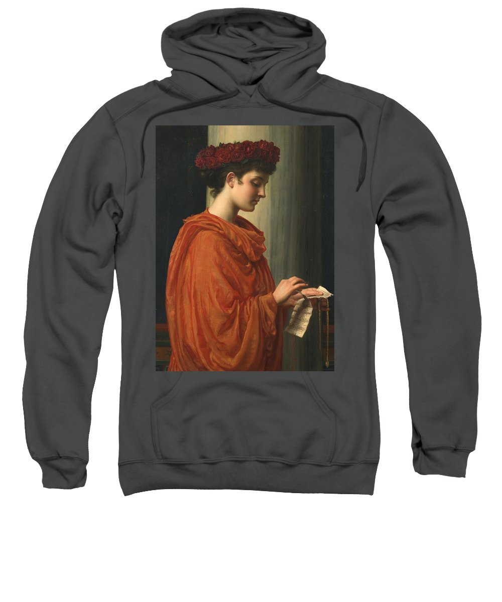 Female; Literature; Poetry; Character; Horace; Odes; Barine; Beauty; Note; Letter; Tearing; Ripping; Profile; Portrait Sweatshirt featuring the painting Barine by Sir Edward John Poynter