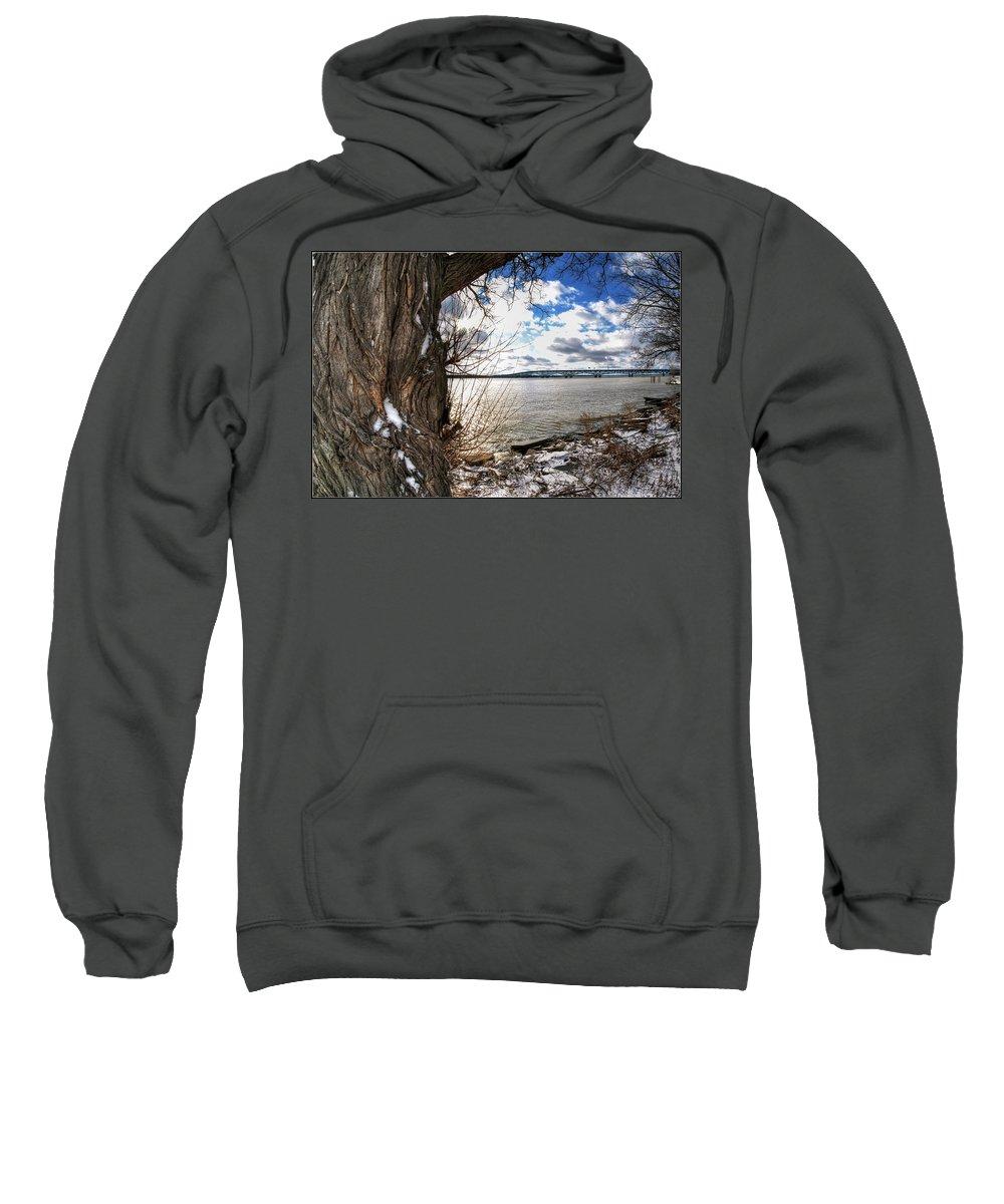 Sweatshirt featuring the photograph 0011 Grand Island Bridge Series by Michael Frank Jr