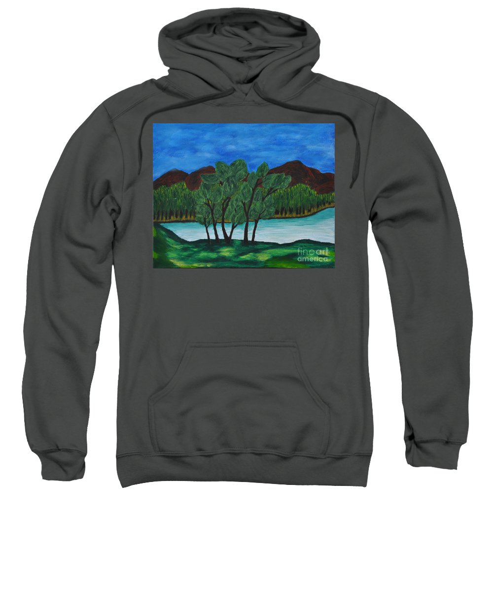 Impressionism Sweatshirt featuring the painting 008 Landscape by Chowdary V Arikatla