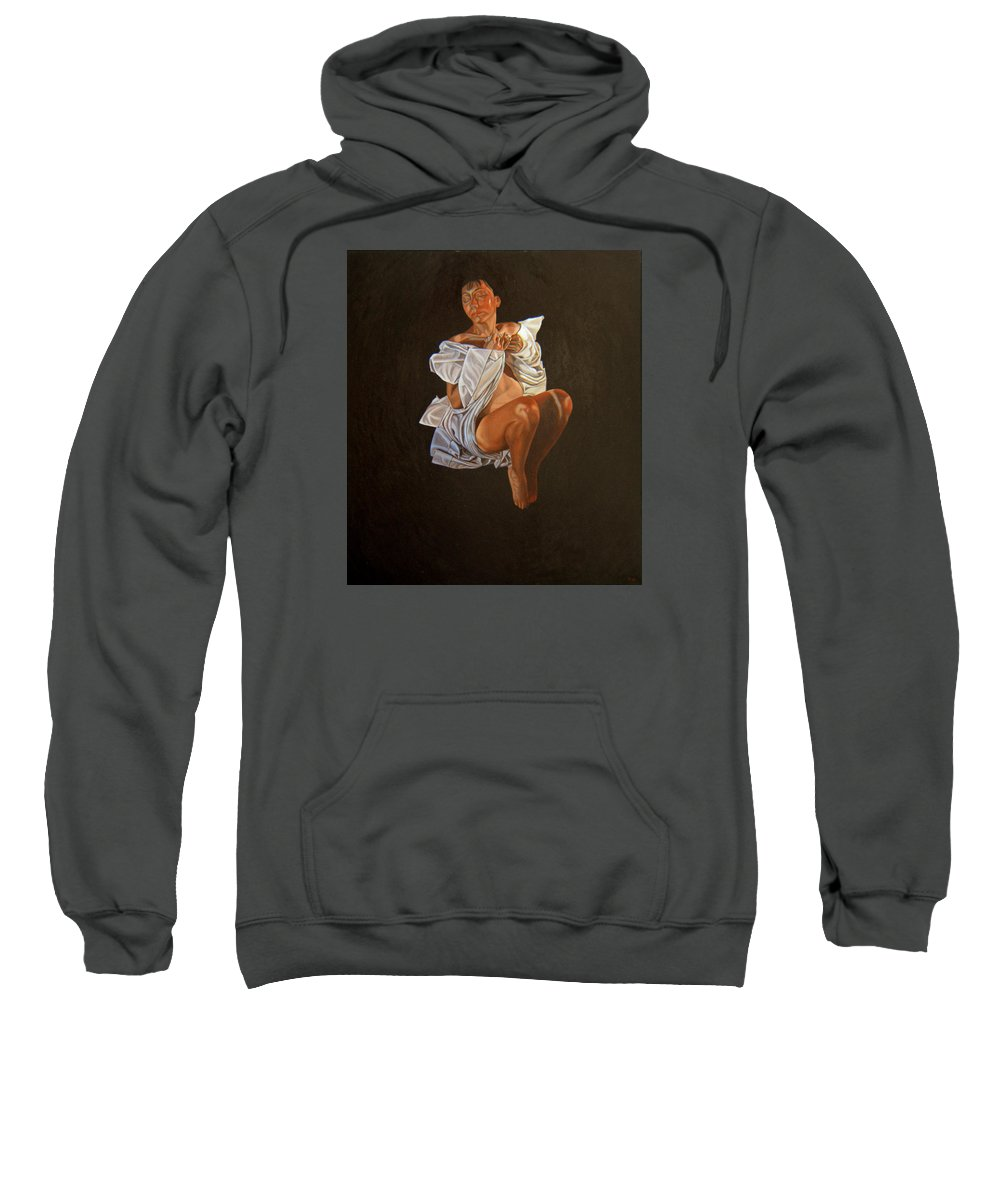 Semi-nude Sweatshirt featuring the painting 1 30 Am by Thu Nguyen