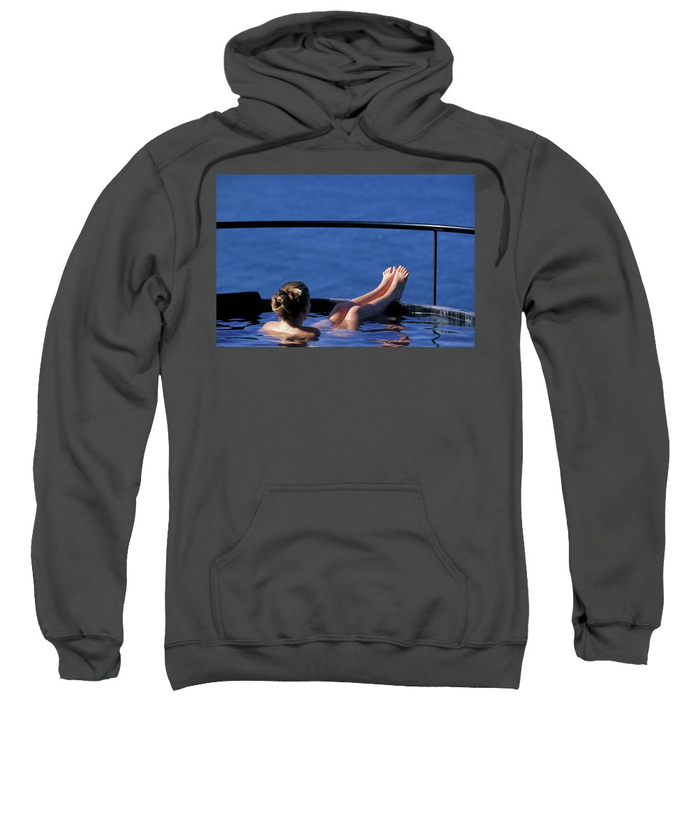 Bathing Sweatshirt featuring the photograph A Nude Woman In A Hot Spring by Corey Rich