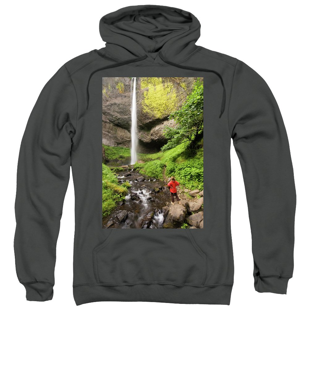 Color Image Sweatshirt featuring the photograph A Woman Admires Latourel Falls On June by Tom Bol