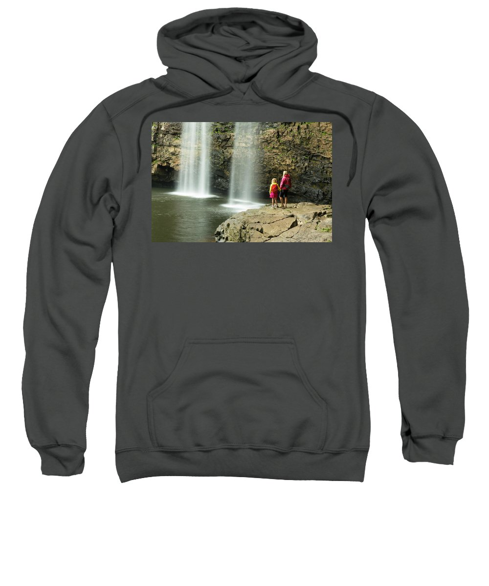 Women Sweatshirt featuring the photograph A Woman And Daughter Hikiing by Kennan Harvey