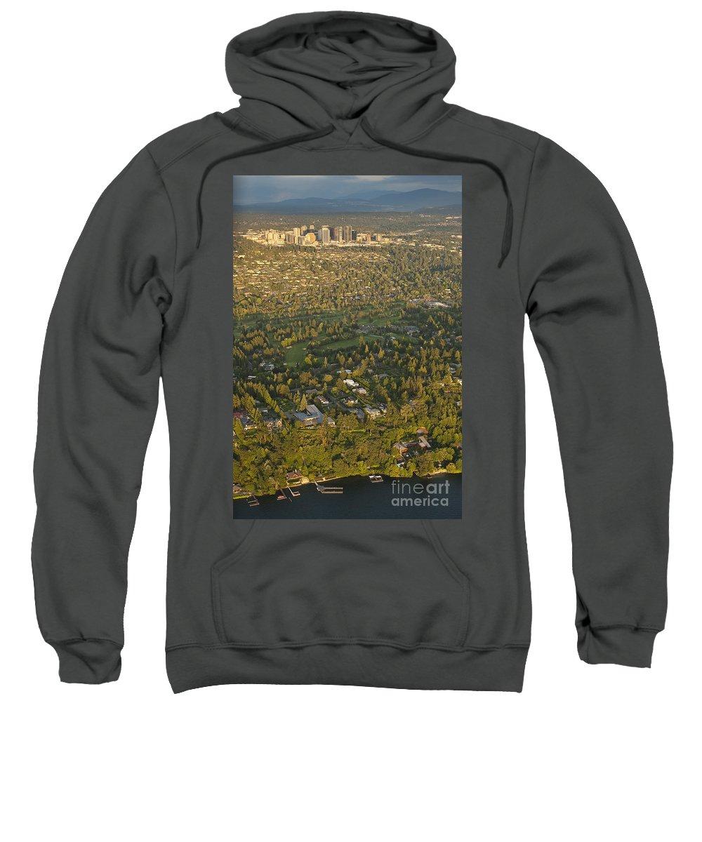 Bellevue Skyline Sweatshirt featuring the photograph Aerial View Of Bellevue Skyline by Jim Corwin