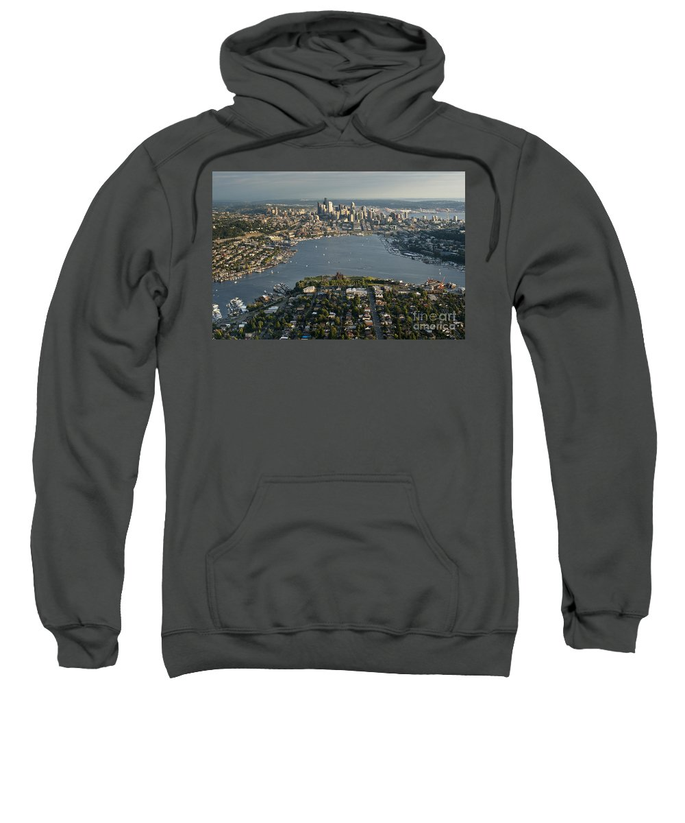 Elliott Bay Sweatshirt featuring the photograph Aerial View Of Seattle by Jim Corwin