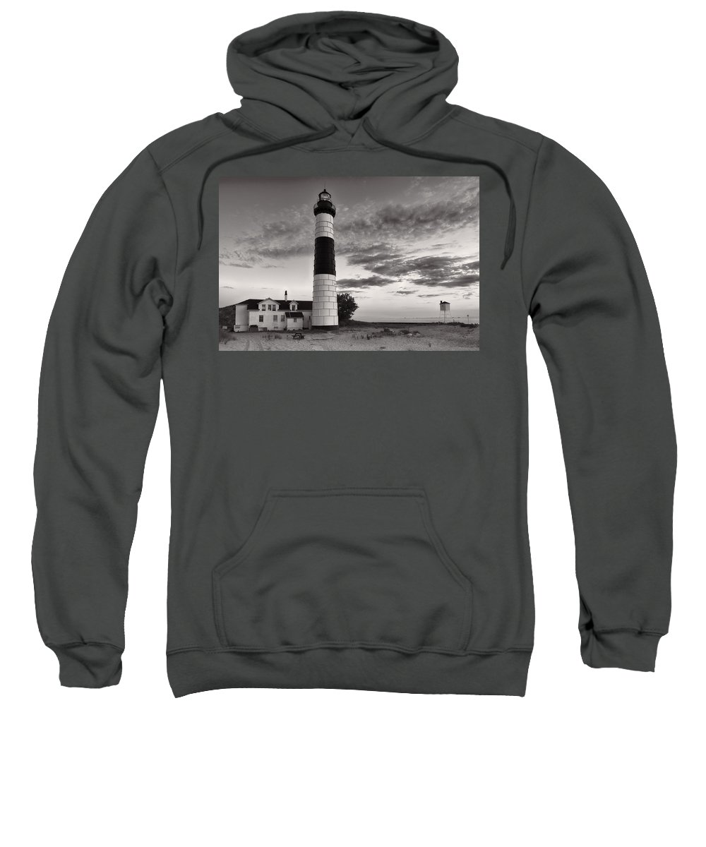 Lighthouse Sweatshirt featuring the photograph Big Sable Point Lighthouse In Black And White by Sebastian Musial