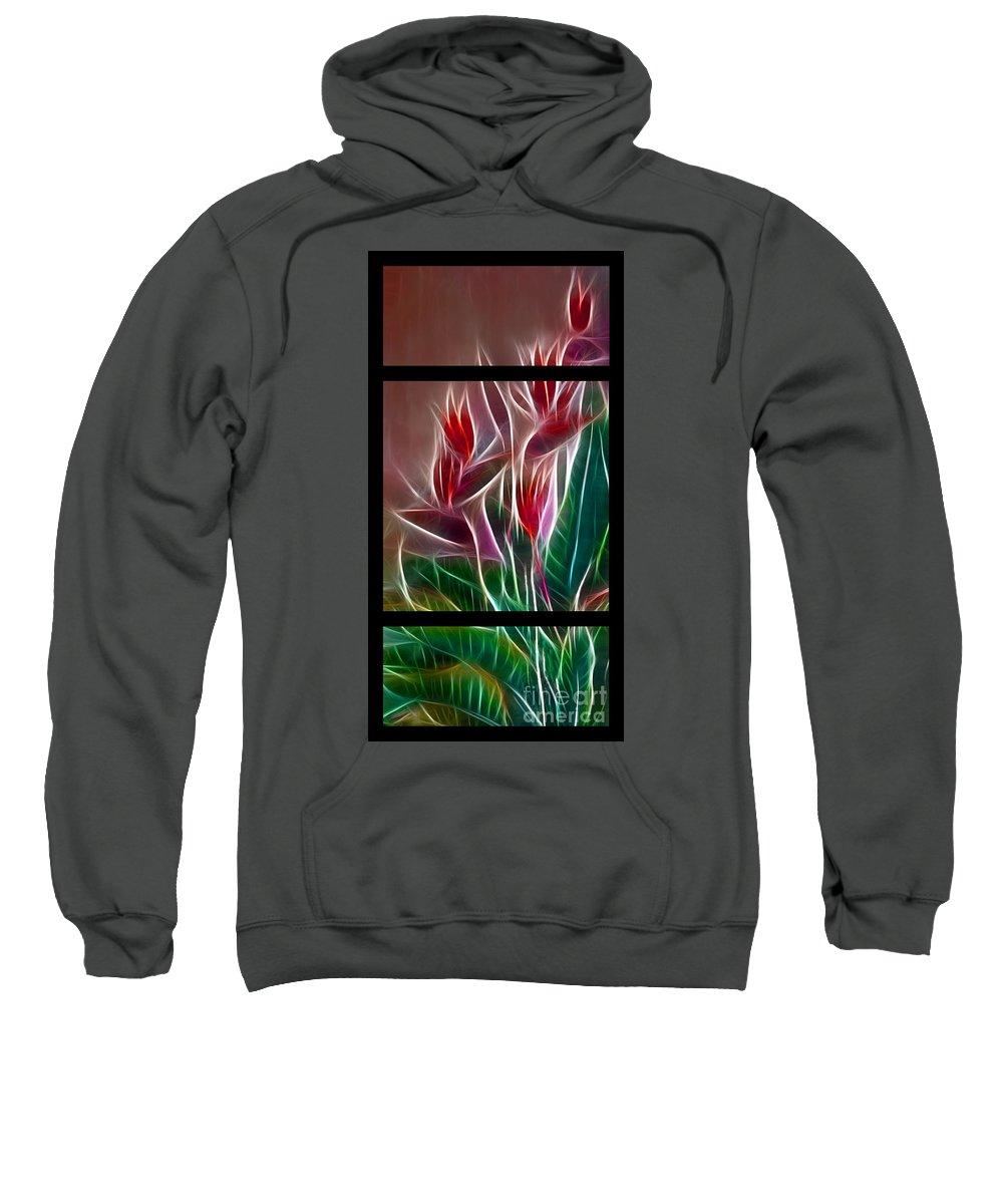 Bird Of Paradise Sweatshirt featuring the digital art Bird Of Paradise Fractal by Peter Piatt