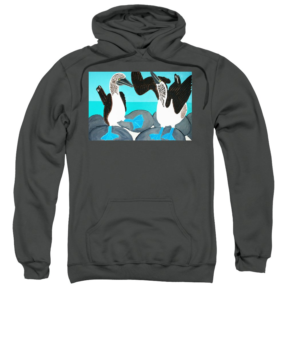 Blue Footed Boobies Sweatshirt featuring the painting Blue Footed Boobies. by Matthew Brzostoski