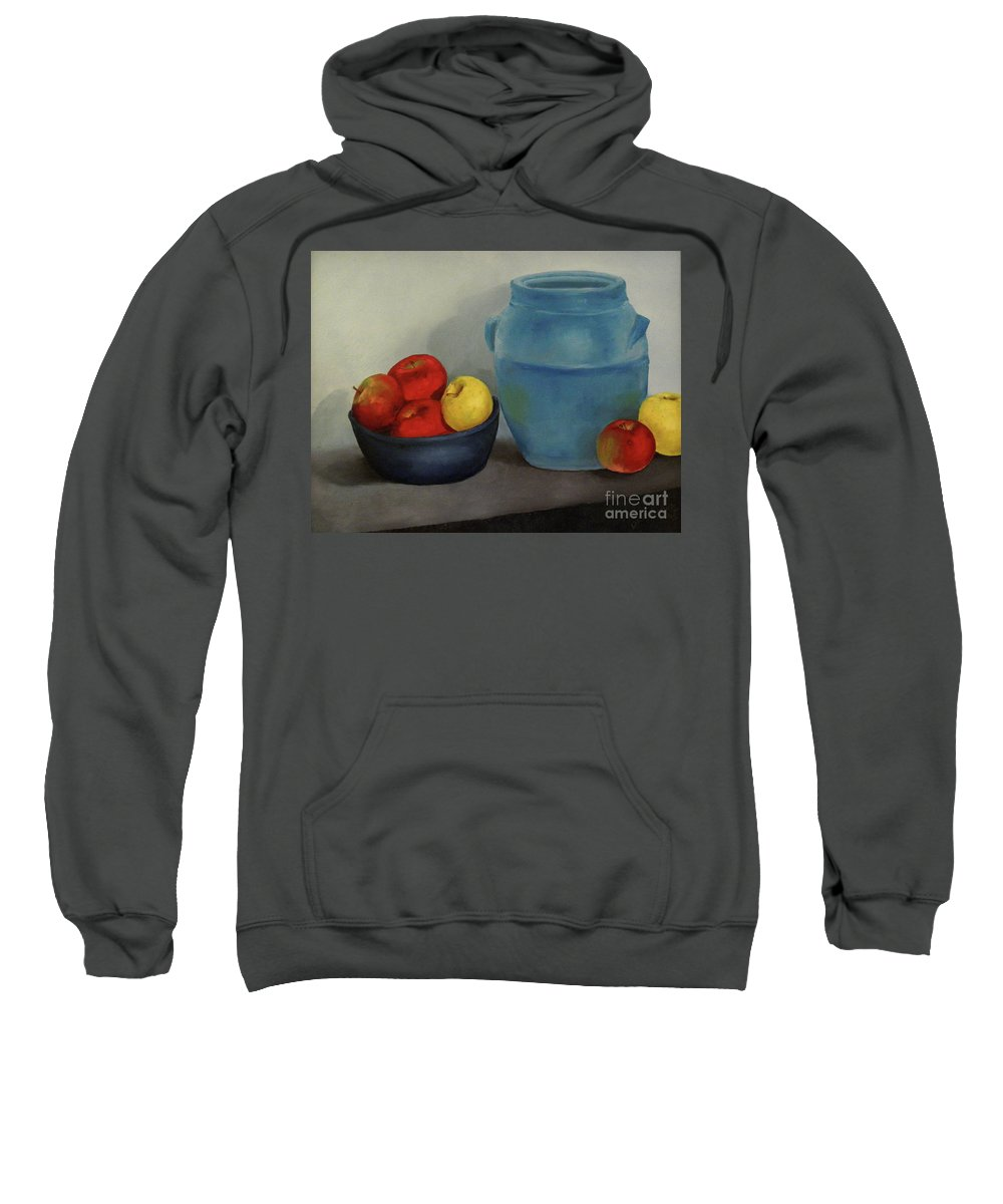 Dlgerring Sweatshirt featuring the painting Blue Jar And Apples by D L Gerring