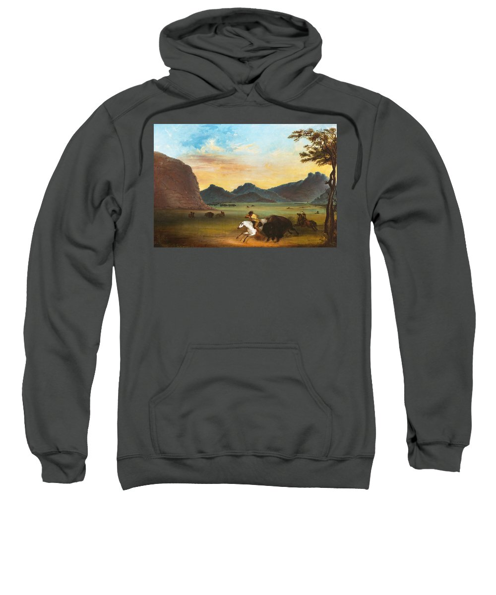Alfred Jacob Miller Sweatshirt featuring the painting Buffalo Hunt by Alfred Jacob Miller
