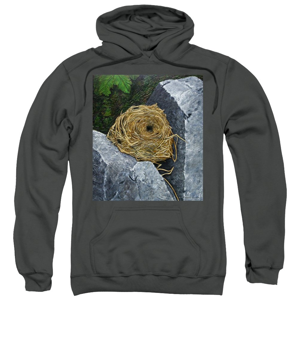 Nest Sweatshirt featuring the painting Campagnol Nest by Elaine Booth-Kallweit