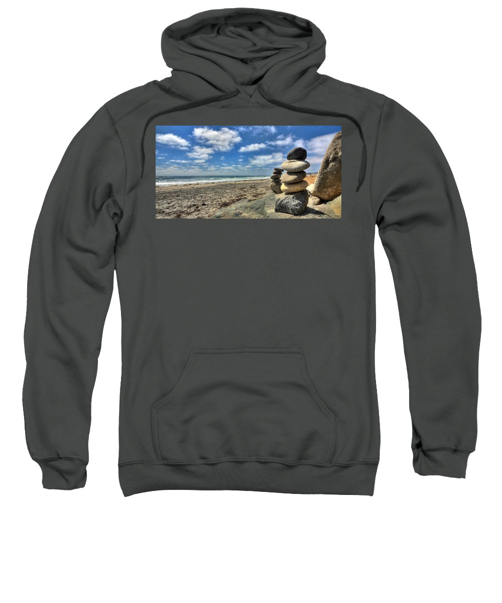 Beach Art Sweatshirt featuring the photograph Cardiff Stacks by Peter Tellone