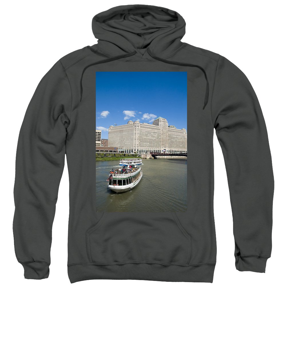 Sweatshirt featuring the photograph Chicago River Bend by Patrick Warneka
