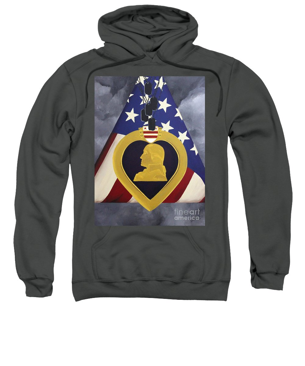 Military Painting Sweatshirt featuring the painting Cost Of Freedom by D L Gerring