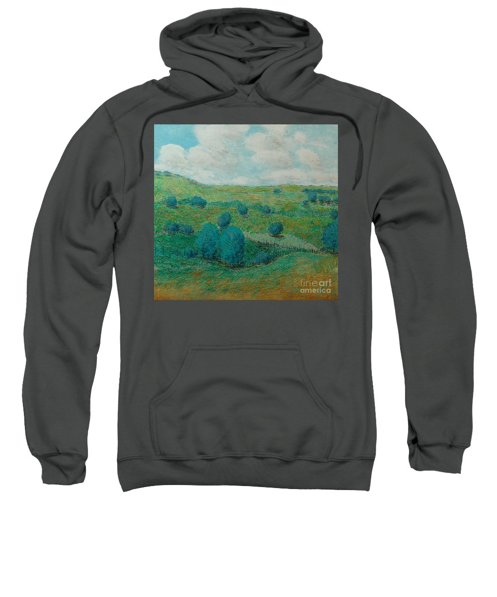 Landscape Sweatshirt featuring the painting Dry Hills by Allan P Friedlander