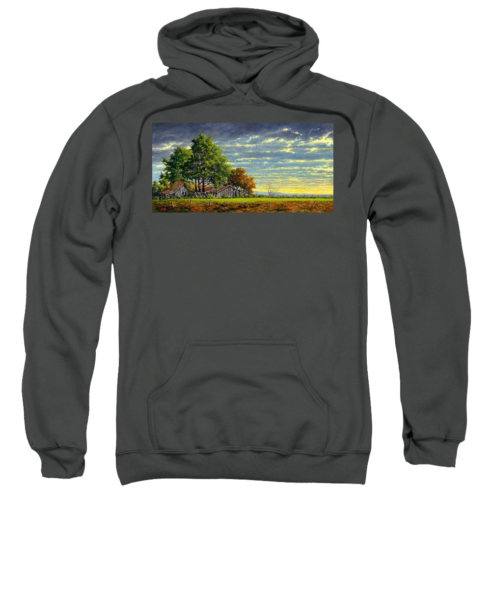 Landscape Sweatshirt featuring the painting Dusk by Jim Gola