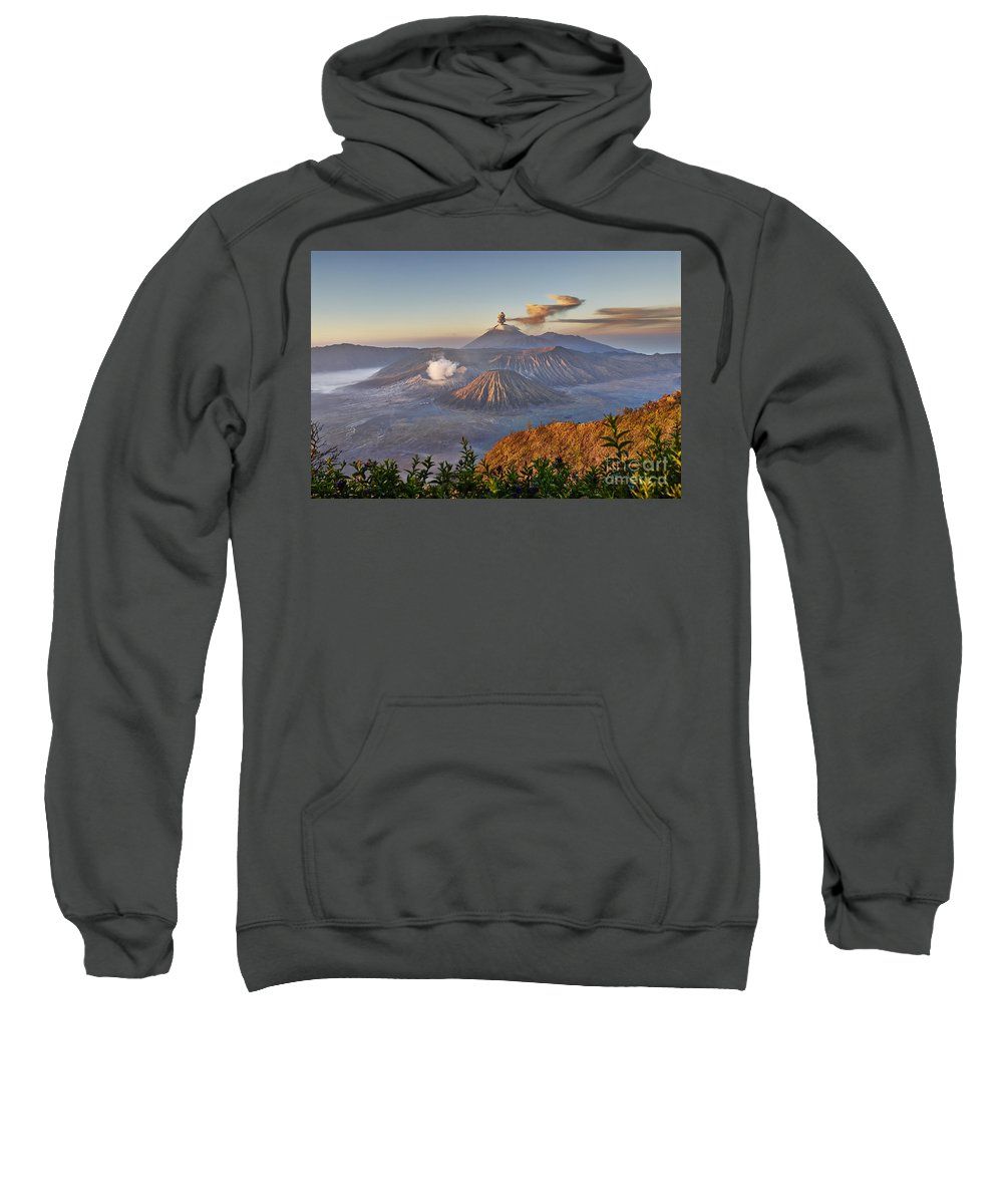 Adventure Sweatshirt featuring the photograph eruption at Gunung Bromo by Juergen Ritterbach