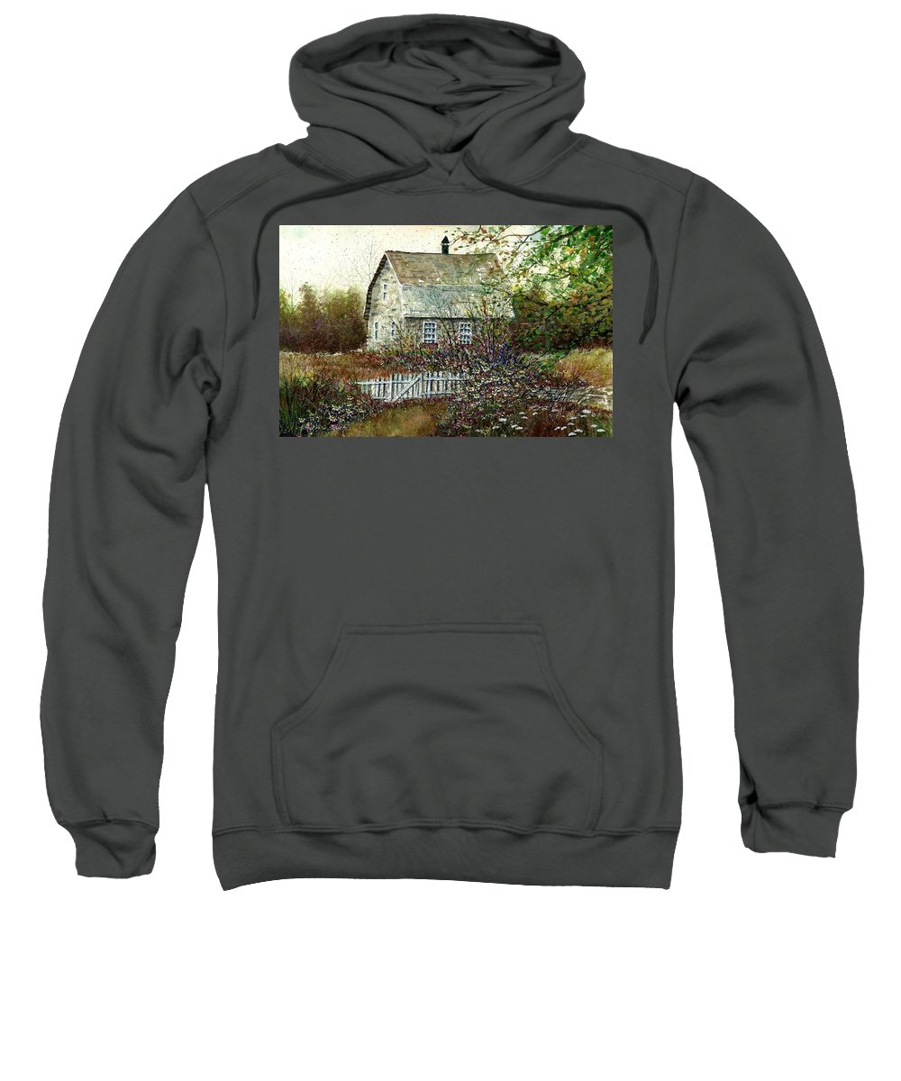 Garden Shed Sweatshirt featuring the painting Garden Shed by Steven Schultz