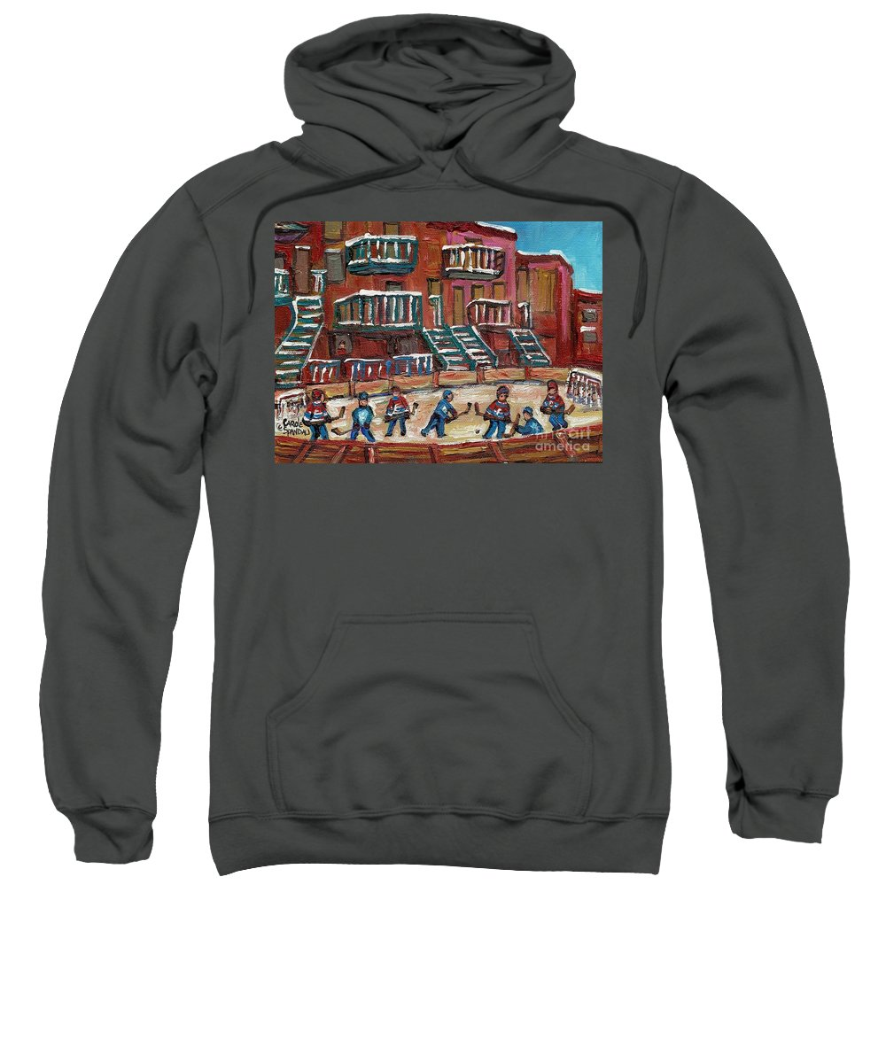 Hockey Sweatshirt featuring the painting Gorgeous Day For A Game by Carole Spandau