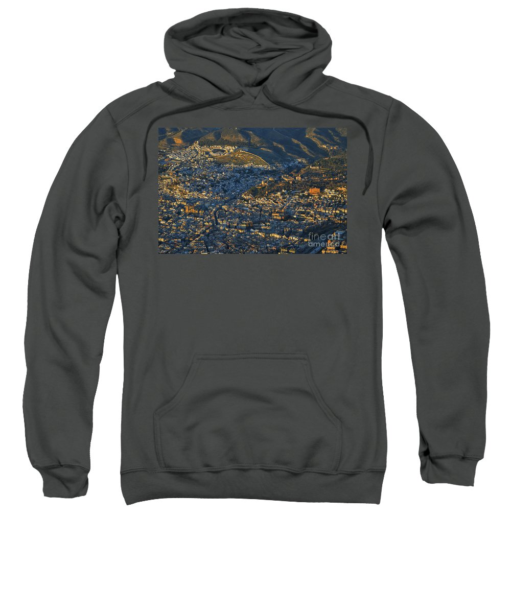 The Alhambra Sweatshirt featuring the photograph Granada And The Alhambra by Guido Montanes Castillo
