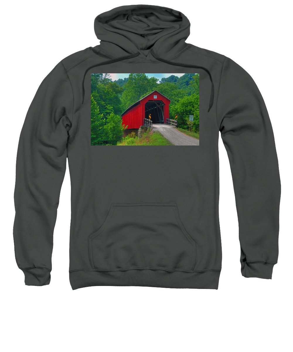 Ohio Sweatshirt featuring the photograph Hune Covered Bridge by Jack R Perry
