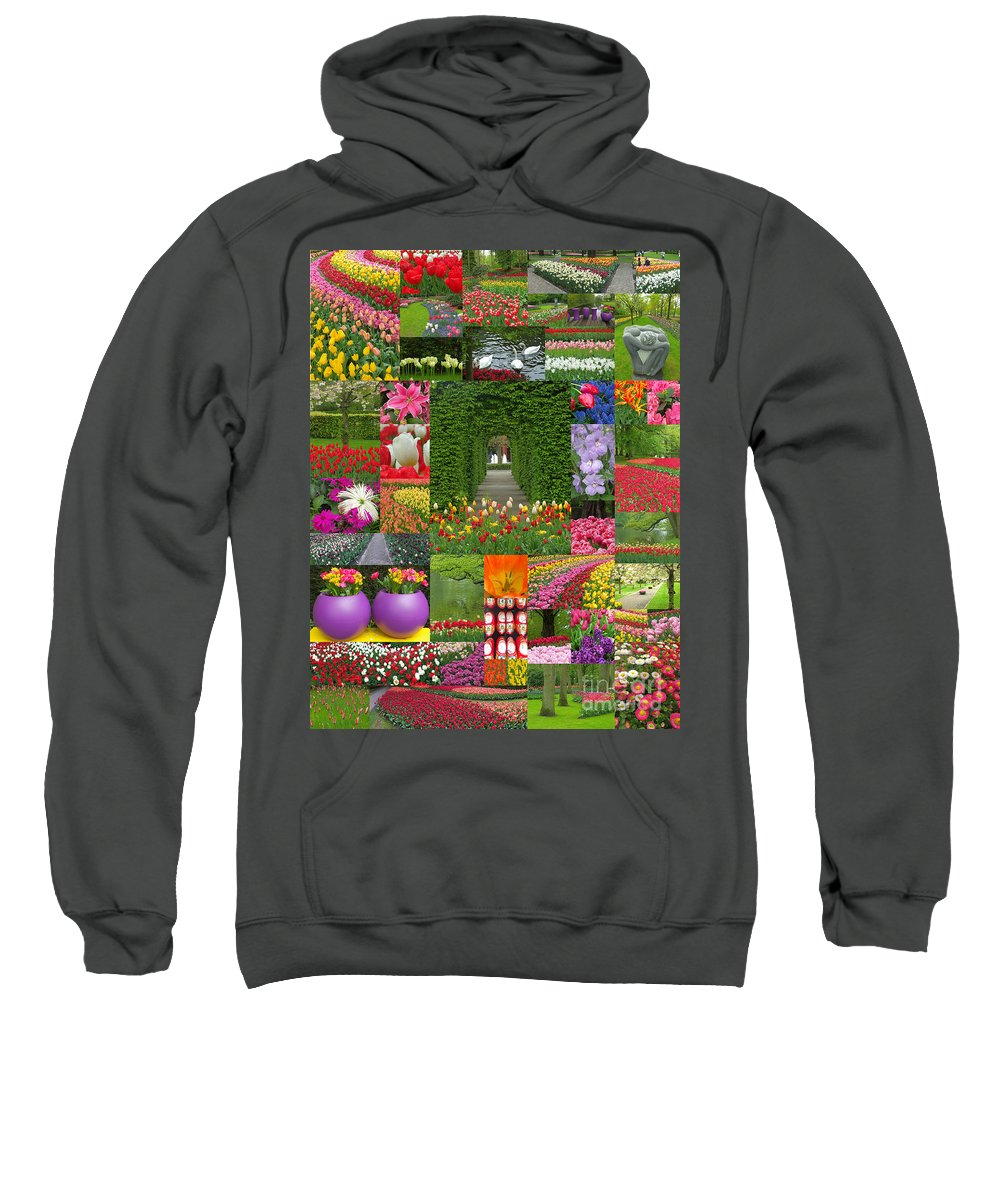 Garden Sweatshirt featuring the photograph Keukenhof Gardens Collage by Mike Nellums
