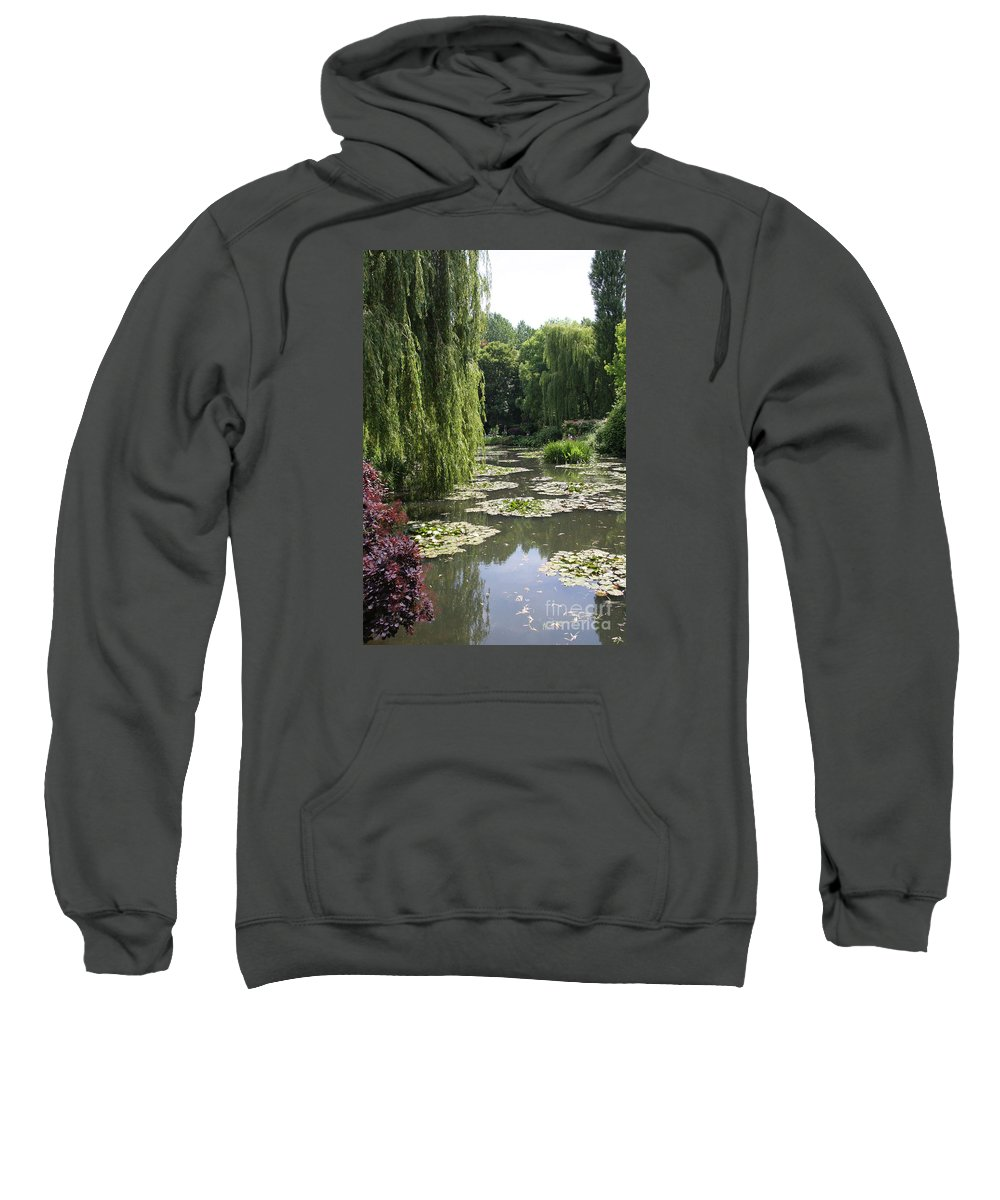 Lilies Sweatshirt featuring the photograph Lily Pond - Monets Garden by Christiane Schulze Art And Photography