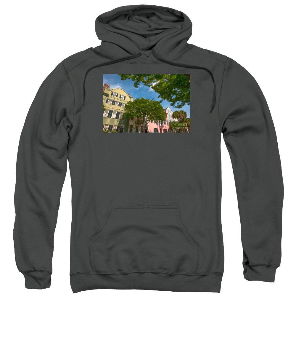 Rainbow Row Sweatshirt featuring the digital art Lowcountry Rainbow Row by Dale Powell