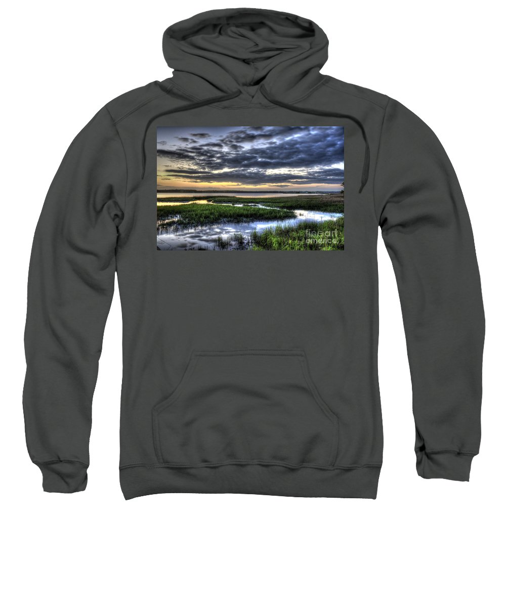 Lowcountry Sweatshirt featuring the photograph Cloud Reflections Over The Marsh by Dale Powell