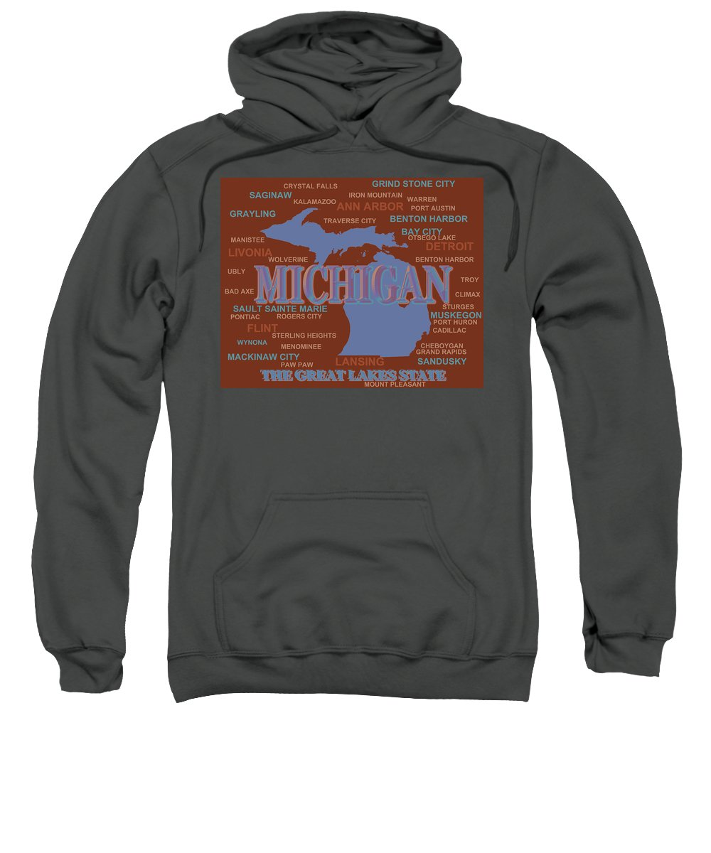 Michigan Sweatshirt featuring the photograph Michigan State Pride Map Silhouette by Keith Webber Jr