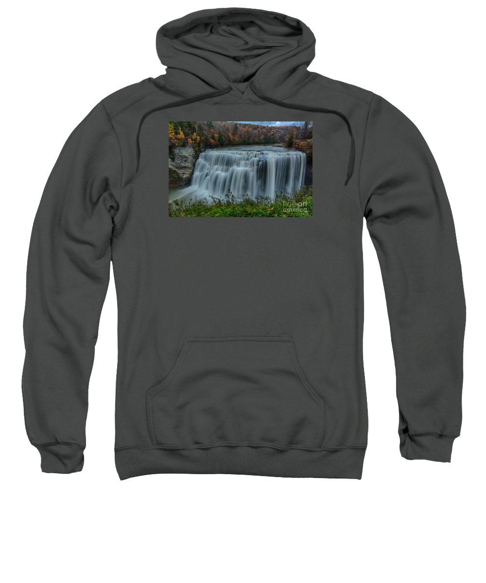Gorge Sweatshirt featuring the photograph Middle Falls At Letchworth State Park by Steve Clough