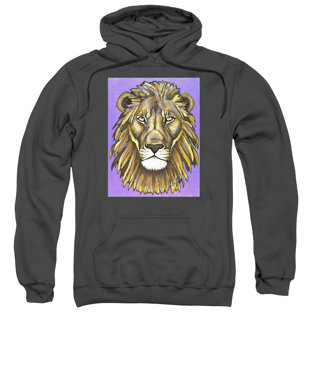 Lion Sweatshirt featuring the painting Mod Male Lion by VLee Watson
