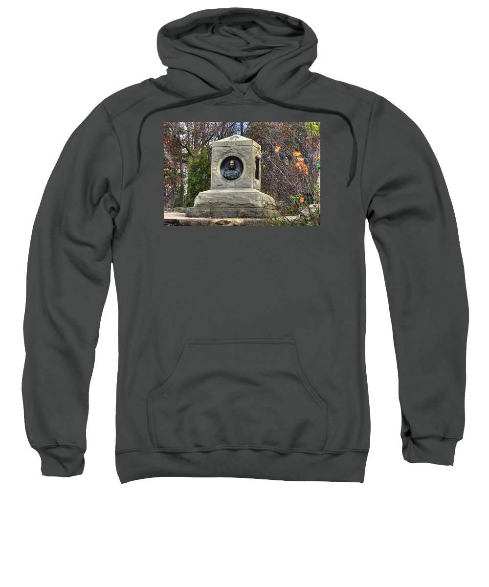 Civil War Sweatshirt featuring the photograph New York At Gettysburg - 140th Ny Volunteer Infantry Little Round Top Colonel Patrick O' Rorke by Michael Mazaika