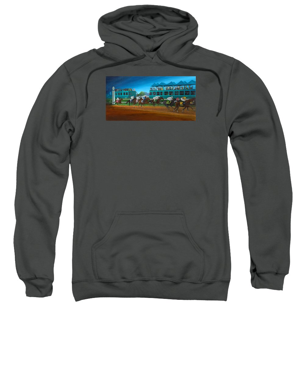 Horse Sweatshirt featuring the painting Odds Are Not by Sherryl Lapping