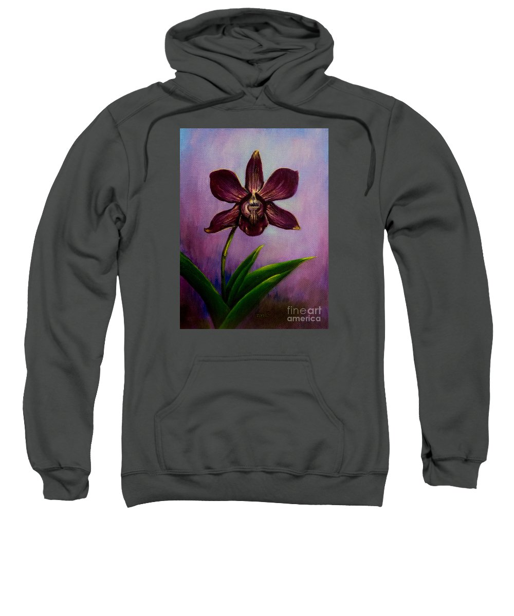 Art Sweatshirt featuring the painting Orchid by Zina Stromberg