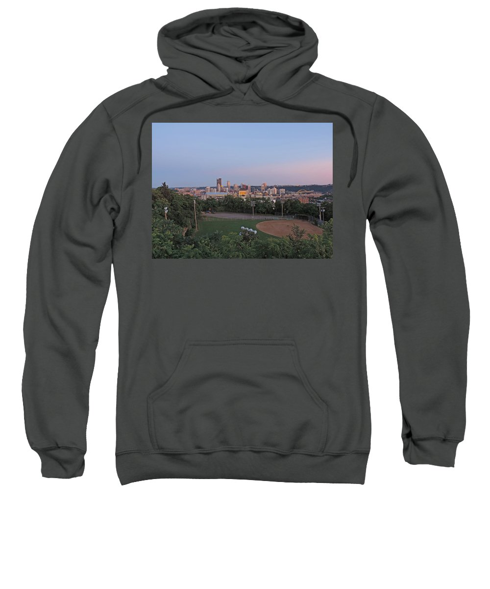 City Sweatshirt featuring the photograph Pittsburgh Skyline At Dusk by Cityscape Photography