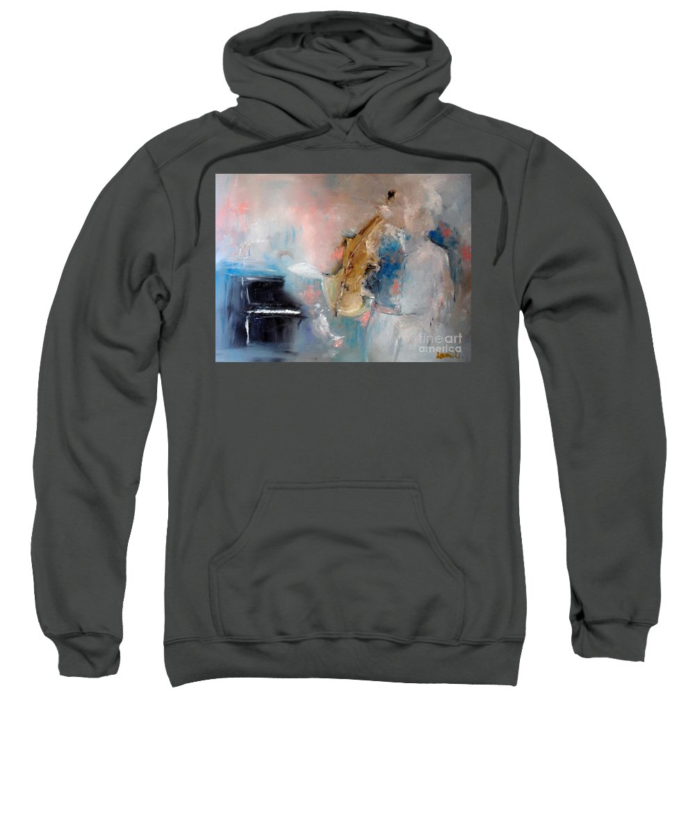 Violin Sweatshirt featuring the painting Practice by Laurie Lundquist