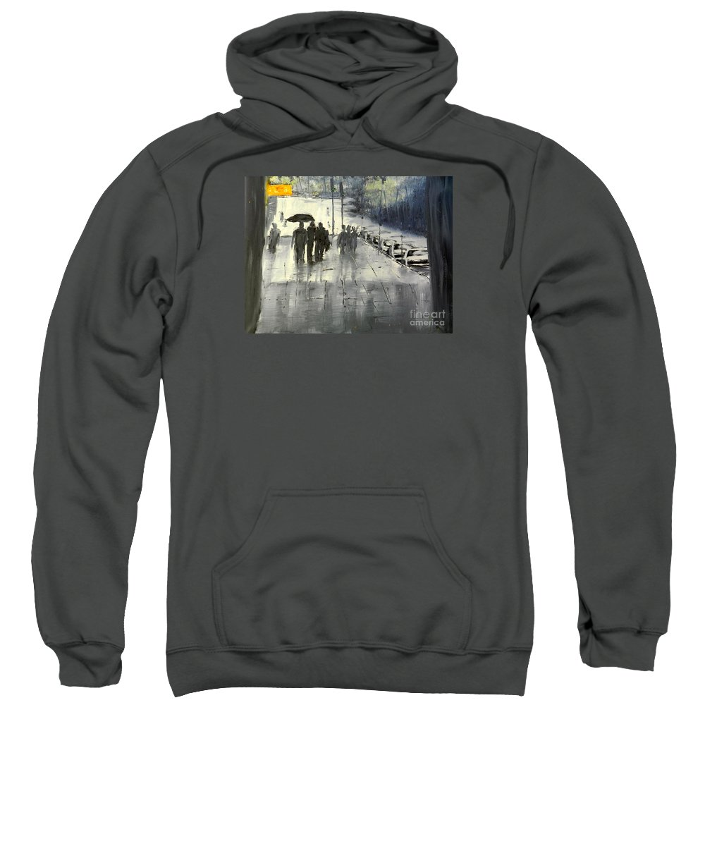 Impressionism Sweatshirt featuring the painting Rainy City Street by Pamela Meredith