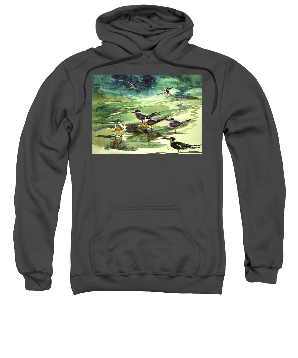 Watercolor Sweatshirt featuring the painting Royal Terns And Black Skimmers by Julianne Felton