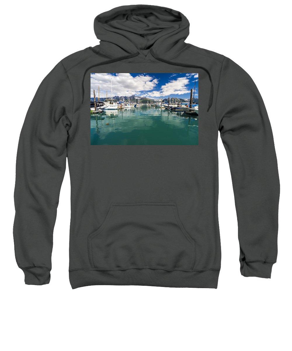 Alaska Sweatshirt featuring the photograph Seward Harbor by Kyle Lavey