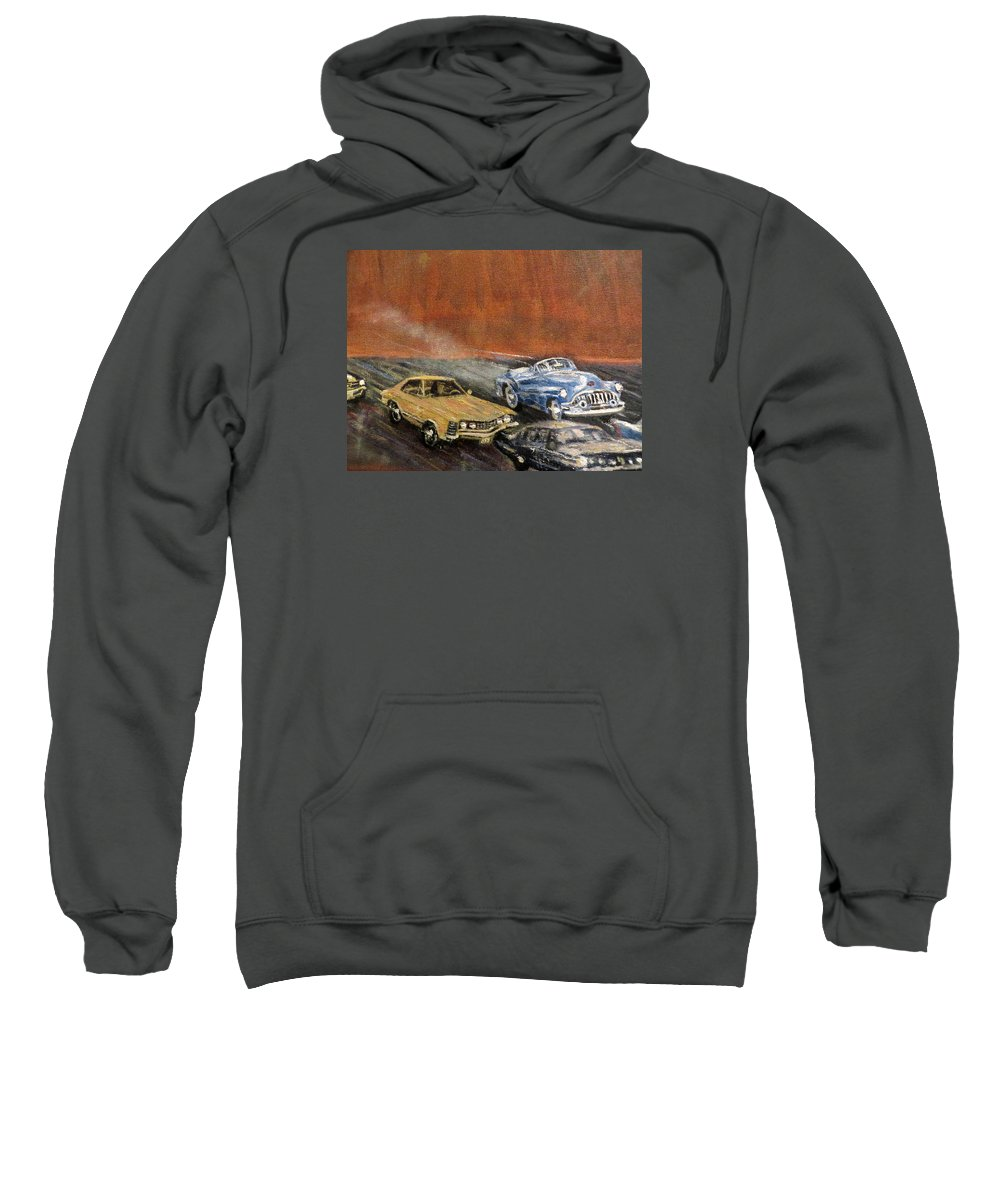 Classic Sweatshirt featuring the painting Detail 2 Of My Times Square Painting by Daniel Gomez