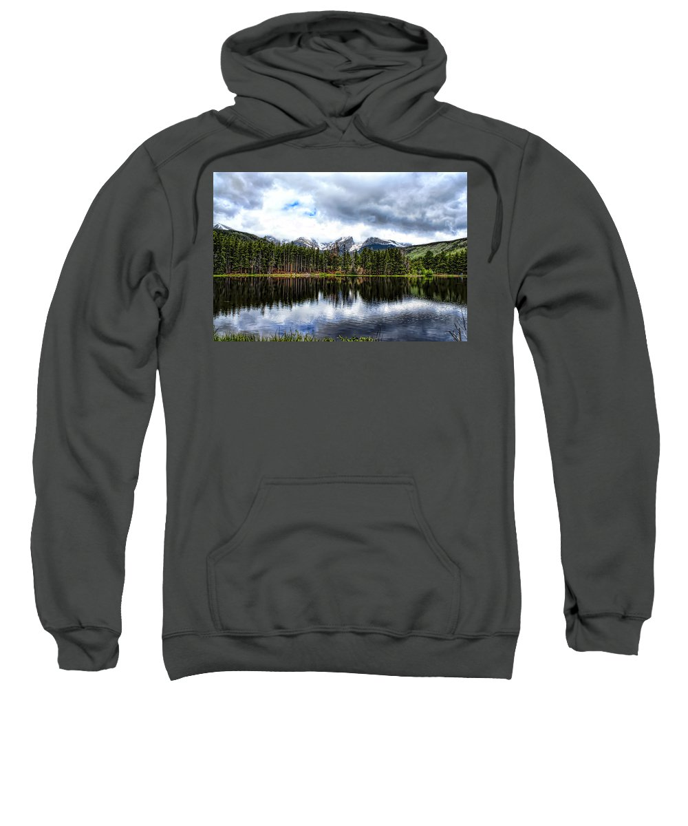 Rocky Mountain National Park Sweatshirt featuring the photograph Sprague Lake by Alan Hutchins