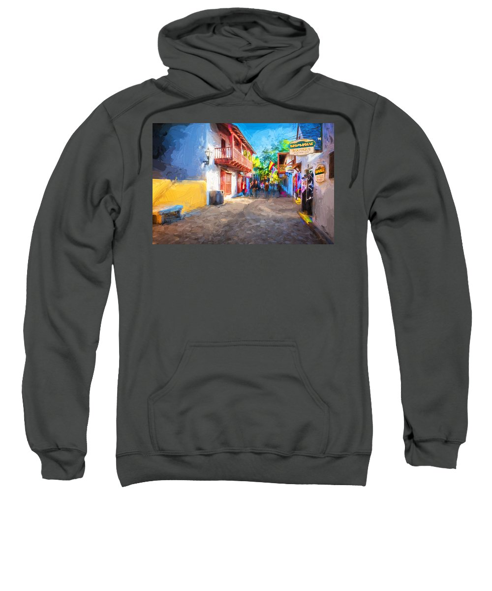 St. George Street Sweatshirt featuring the photograph St George Street St Augustine Florida Painted by Rich Franco