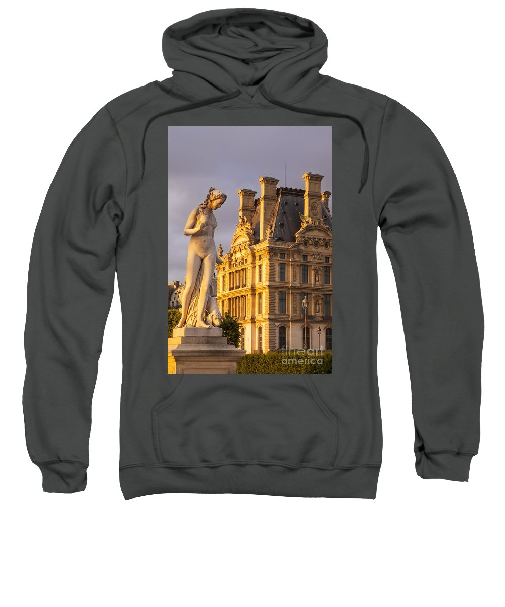 Architecture Sweatshirt featuring the photograph Statue Below Musee Du Louvre by Brian Jannsen