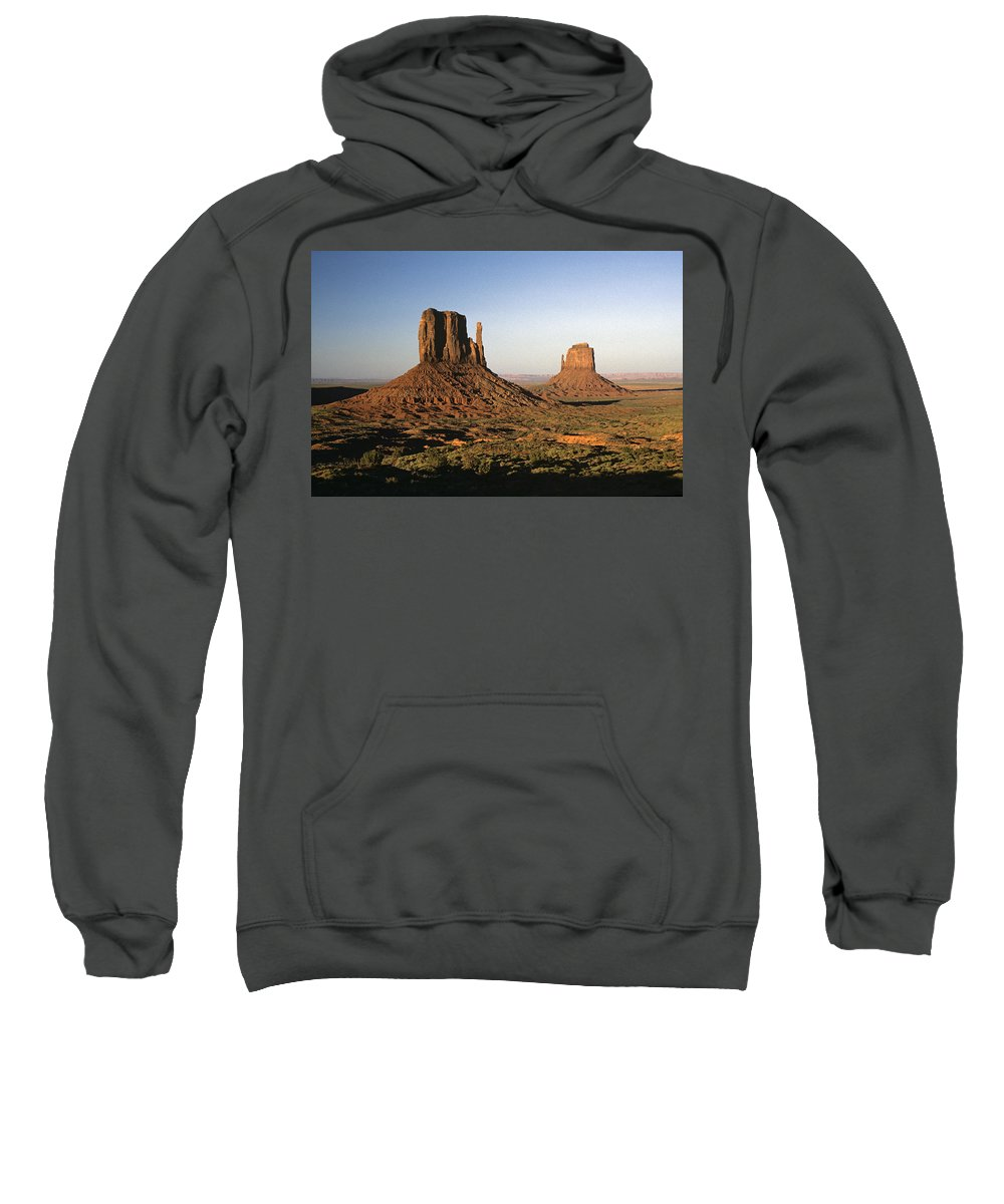 Arizona Sweatshirt featuring the photograph Sunset Light With Mittens And Desert In Monument Valley Arizona by Jim Corwin