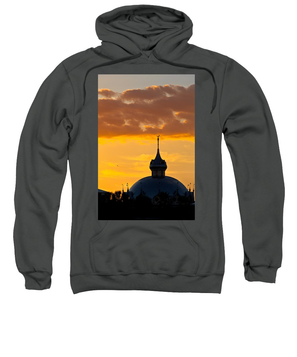 America's Gilded Age Sweatshirt featuring the photograph Tampa Bay Hotel Dome At Sundown by Ed Gleichman