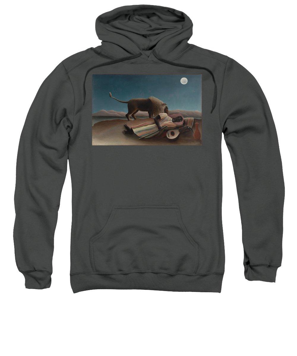 Henri Rousseau Sweatshirt featuring the painting The Sleeping Gypsy by Henri Rousseau