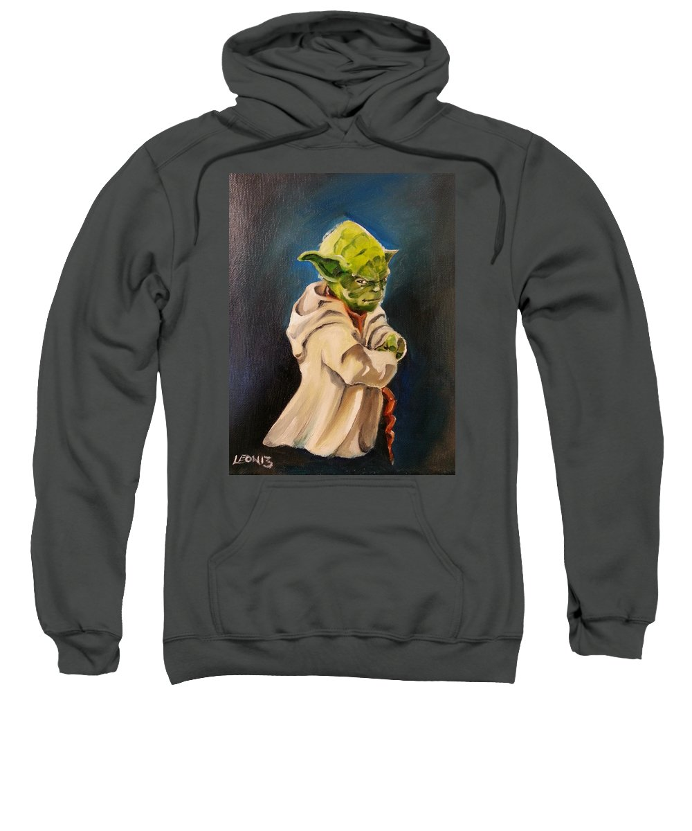 Yoda Sweatshirt featuring the painting There Is No Try by Chris Leon