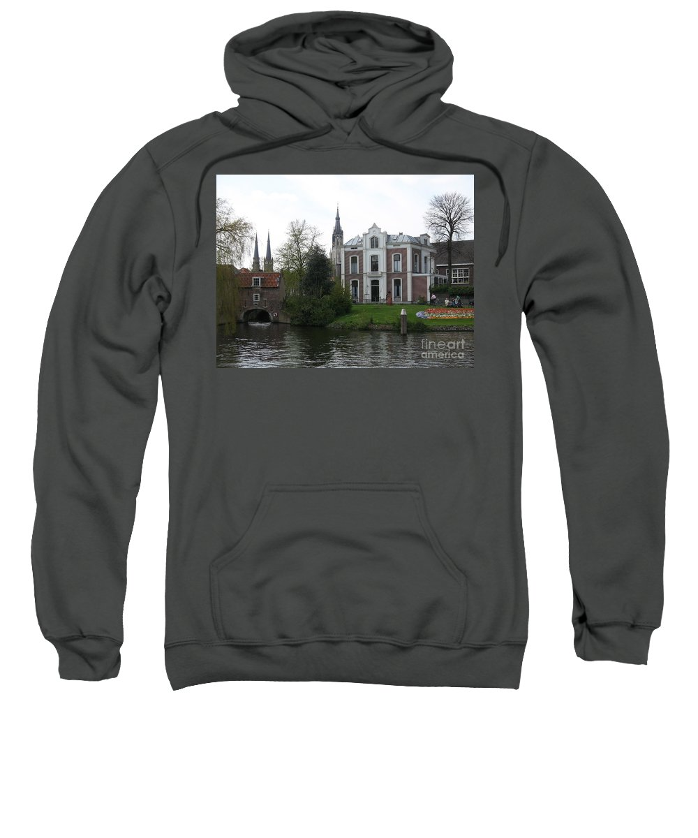 Town Canal Sweatshirt featuring the photograph Town Canal - Delft by Christiane Schulze Art And Photography